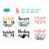 Sport mom svg set with flowers