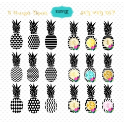 Pineapple svg set, Pineapple monogram frames set