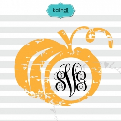 Distressed pumpkin monogram SVG, Halloween SVG