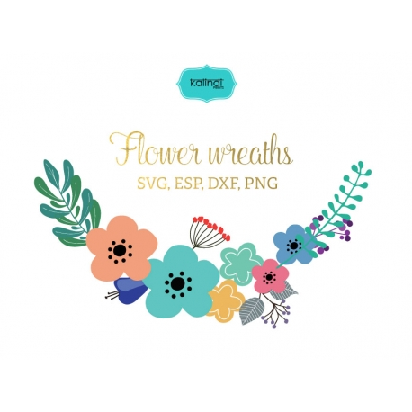 Flower wreaths svg, Flowers vector graphic, Flowers monogram clipart, svg files