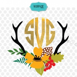 Antler SVG, fall SVG, deer SVG