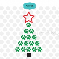Dog paw Christmas Tree SVG