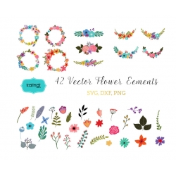 Flower svg, Flowers wreaths svg, Flower bouquet svg, Flowers vector, Flower cut file, Flower download, svg files, clipart