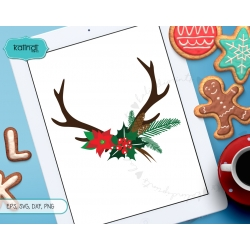Christmas horns SVG, antler SVG