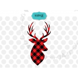 Plaid deer SVG, fall SVG