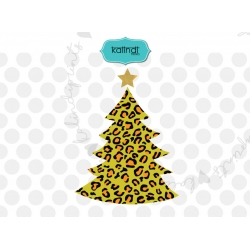 Leopard print Christmas tree SVG, leopard Christmas SVG