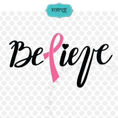 Pink ribbon svg, believe svg