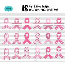 Pink ribbon SVG, cancer SVG set