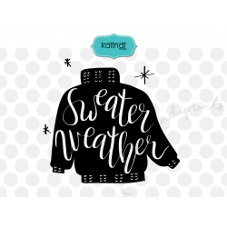 Sweater Weather svg, Hand lettering Christmas SVG
