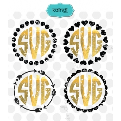 Grunge monogram frames svg set