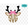 Reindeer girl monogram frame svg, Christmas SVG