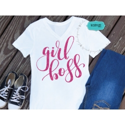 Girl boss svg, hand lettered svg