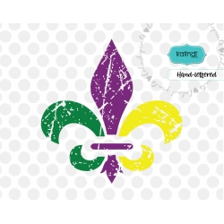 Grunge fleur de lis svg, distressed mardi gras cut filesvg