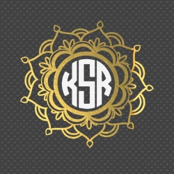 3 colors mandala Monogram Frame svg file