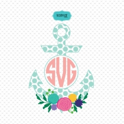 Anchor monogram frames with flowers