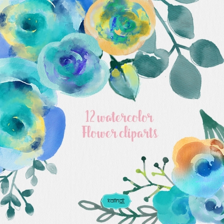 Watercolor flowers, Watercolor cliparts, Hand painted Watercolor floral, Wedding invitation, DIY elements, invite, greeting card