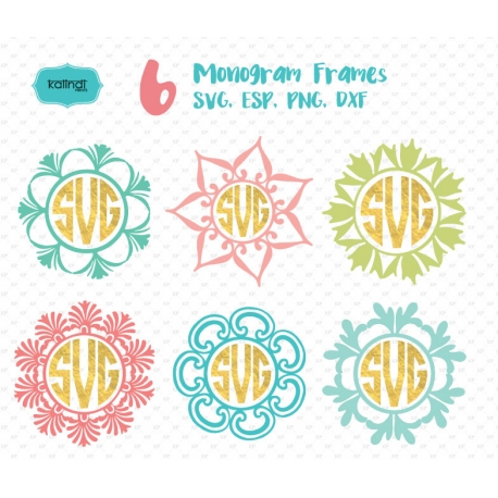 6 Flowers Monogram Frame SVG, Monogram Frames, Monogram SVG, SVG files, Svg Cut files, Circle monogram frames