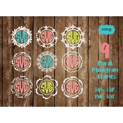 9 Flowers Monogram Frame SVG, Monogram Frames, Monogram SVG, SVG files, Svg Cut files, Circle monogram frames