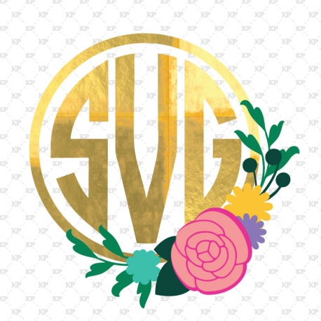 Flower monogram frame svg, Flower svg, flower monogram, svg, svg files, monogram svg, silhouette, cricut, cut files , monogram